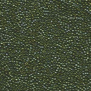 5 g 15/0 Seedbeads, Matte Metallic Green Iris
