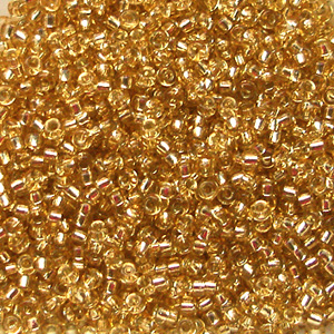 10 g 15/0 Seed Beads, Silverlined Gold