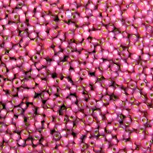 10 g 8/0 Seed beads, Duracoat Silverlined Fuchsia