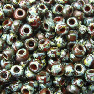 10 g 8/0 Seed beads, Picasso Transparant Red Brown
