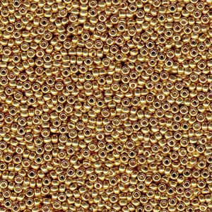 5 g 15/0 Seed Beads, Duracoat Galvanized Gold