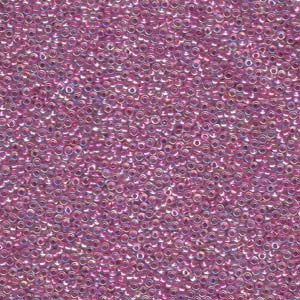 10 g 15/0 Seed Beads, Lined Magenta AB