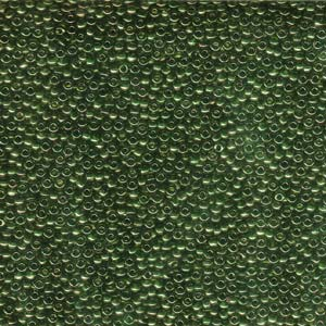 10 g 11/0 Seed Beads, Olive Green Gold Luster