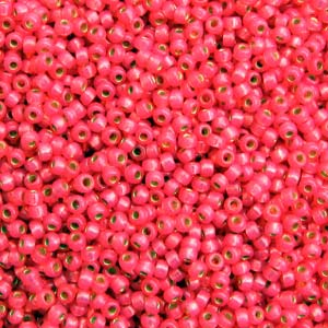 10 g 8/0 Seed Beads, Duracoat Silverlined Hot Pink