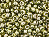 10 g 11/0 TOHO Seedbeads, Gold-lustered Green Tea