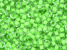 5 g Matubo Seedbeads 8/0, Crystal Green Neon Lined