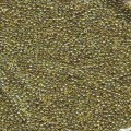 10 g 15/0 Seedbeads Transparant Olive/gold Luster