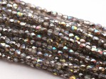50 st Firepolished 2 mm, Crystal Graphite Rainbow