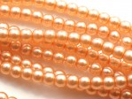 150 st 3 mm runda glaspärlor i pärlemor, Peach