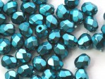 50 st Firepolished, 4 mm, Jet Heavy Metal Turquoise