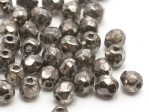 50 st Firepolished, 3 mm, Crystal Antique Chrome