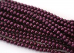 150 st 3 mm runda glaspärlor i pärlemor, Matte Grape Satin