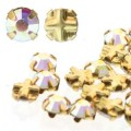 10 st Tjeckiska Rose Montes, 4 mm, Crystal AB, Goldplated